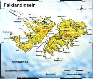 Die Falkland-Inseln mit Carcass und Saunders Islands nördlich von West Falkland
