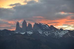 Die Torres del Paine beim Sonnenuntergang