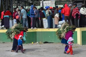 Agrarerzeugnisse werden auf den Markt von Guamote gebracht