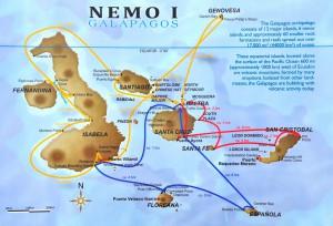Die von der Nemo I angebotenen Routen. Wir sind auf der gelben Route unterwegs.