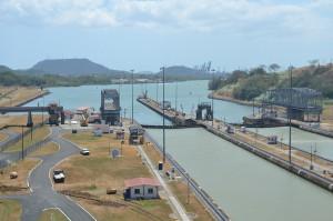 Miraflores-Schleusen des Panama-Kanals, Blickrichtung zum Pazifik