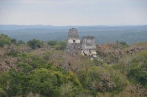Tikal: Die Tempel I und II überragen den Dschungel von Petén.
