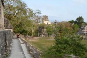 Die Gran Plaza am frühen Morgen mit Templo II im Hintergrund