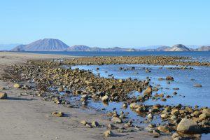 Bei Ebbe wird aus dem Sand- ein Steinstrand