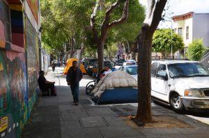Obdachlose nur wenige Blöcke vom Zentrum San Franciscos entfernt