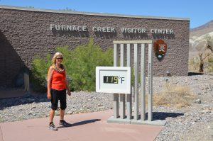 119 Grad Fahrenheit am Visitor Center Furnace Creek