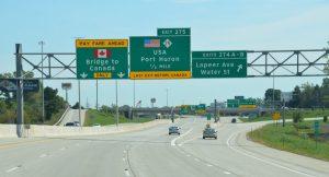 Kurz vor dem Grenzübergang von Michigan, USA, nach Ontario, Kanada
